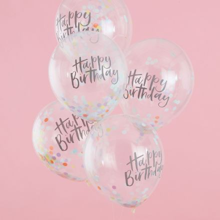 "Pastel ""Happy Birthday"" Confetti Balloons"